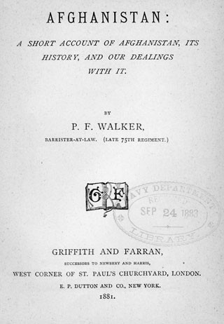 Title page to Afghanistan by Walker