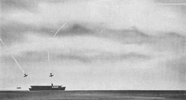 Kamikaze attack on carrier.