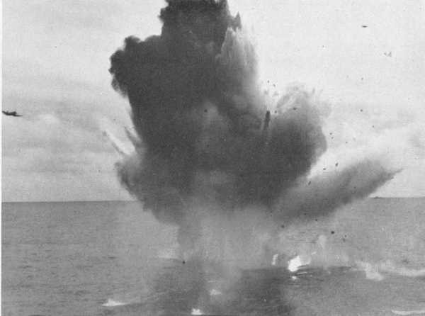 Kamikaze exploding upon impact with water.