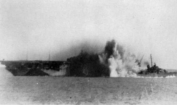 Kamikaze hit on carrier.