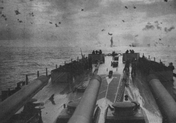 Antiaircraft fire seen from deck of BB.