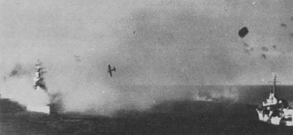 Kamikaze attack on the fleet.