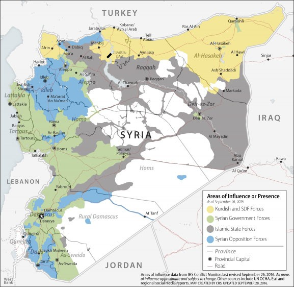 Figure 1. Syria: Areas of Influence [map]