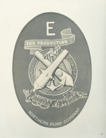 Image of E Award Pin for Northern Pump Company, Minneapolis, Minnesota. 1941.