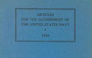 Articles for the Government of the United States Navy, 1930 cover