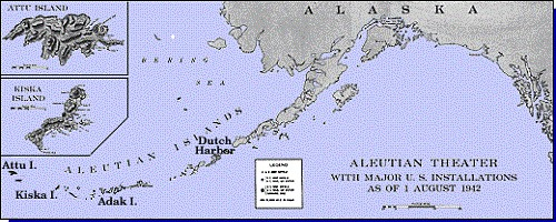Map of Aleutians Theater with major U.S. Installations as of 1 August 1942.