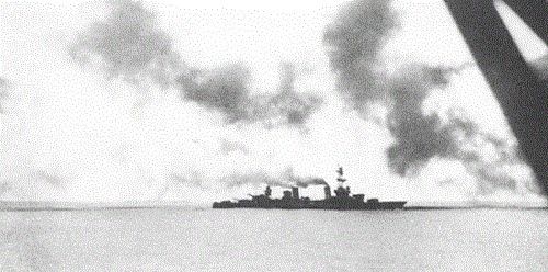 Enemy salvo lands astern of the Salt Lake City during the Battle of the Komandorskis.