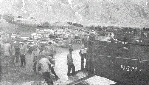 Unloading supplies on Attu, 13 May 1943.