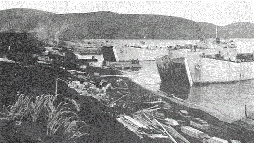 LSTs unloading on Kiska after the landings.
