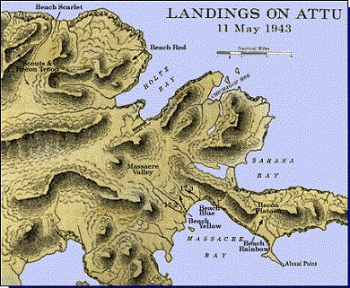 Map 8: Landings on Attu - 11 May 1943.