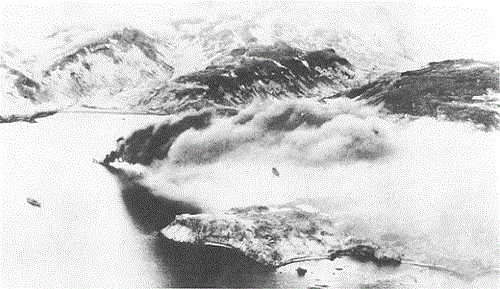 Japanese transport burning after U.S. air attack on Kiska Harbor, 18 June 1942