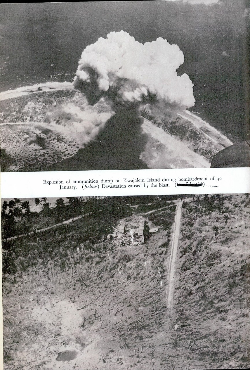 Explosion of ammunition dump of Kwajalein Island during bombardment of 30 January. Devastation caused by the blast