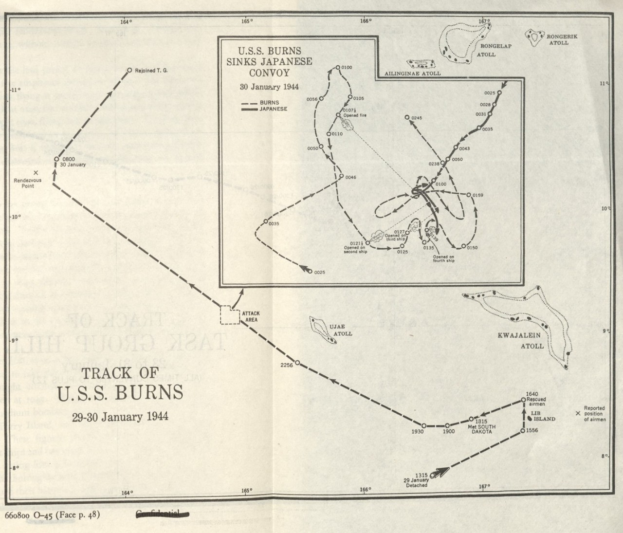 Track of U.S.S. Burns 29-30 January 1944