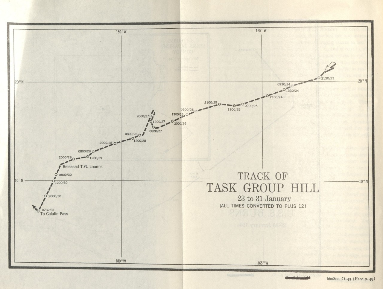 Track of Task Group Hill 23 to 31 January