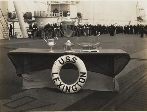 Battenberg Cup - won by USS Lexington March 1933 at San Pedro. Naval History and Heritage Command, Curator section, #69-459-A.