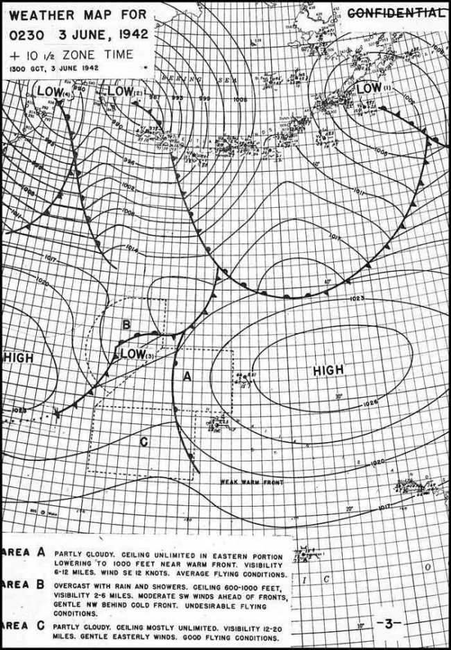 Weather Map for 0230, 3 June, 1942.
