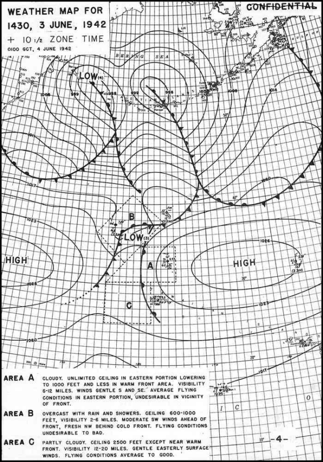 Weather Map for 1430, 3 June, 1942.