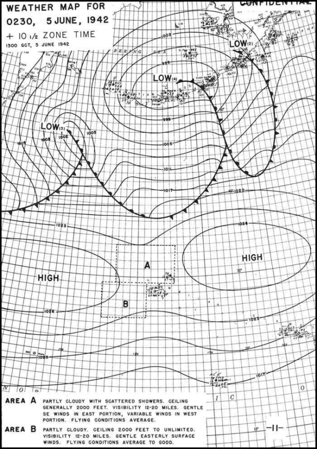 Weather Map for 0230, 5 June, 1942.