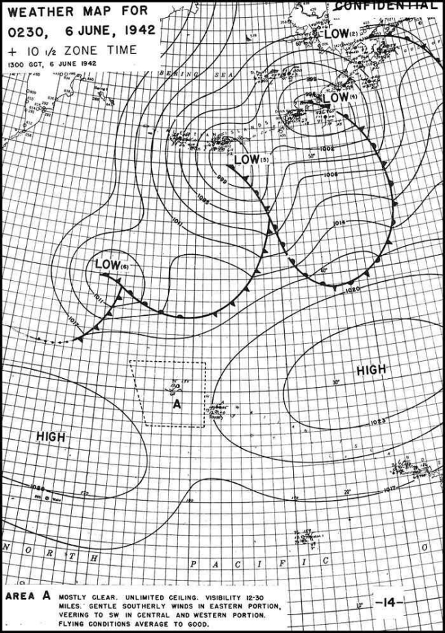 Weather Map for 0230, 6 June, 1942.