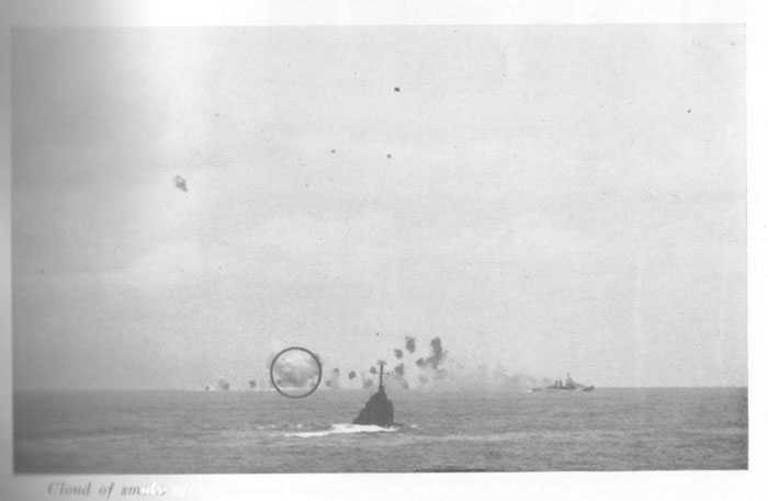 "Cloud of smoke after Japanese plane had been disintegrated by direct hit of 5""/38 shell."