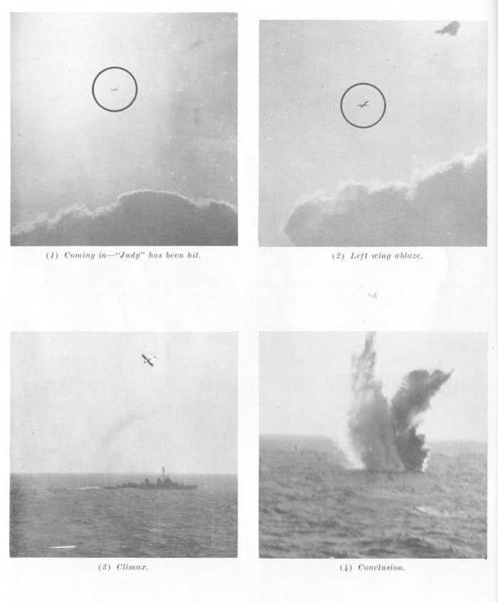 Enemy plane being shot down. Upper left (1) Coming in -- Judy has been hit. upper right (2) Left wing ablaze. lower left (3) Climax. lower right (4) Conclusion.