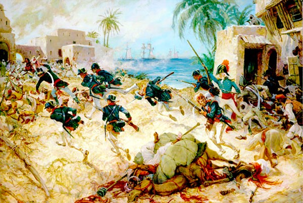 Painting: 'The Assault on Derna, Tripoli, 27 April 1805,' by Charles H. Waterhouse, Marine Corps Art Collection.