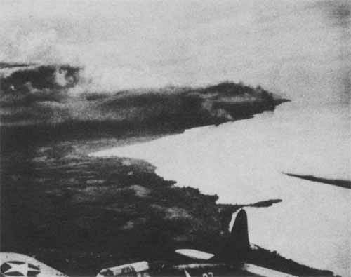Four Japanese AP/AK beached and burning on Guadalcanal.