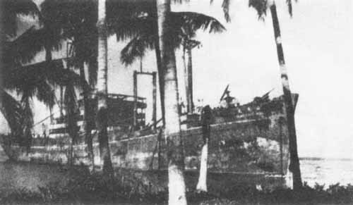 The YAMAZUKI MARU beached on Guadalcanal.