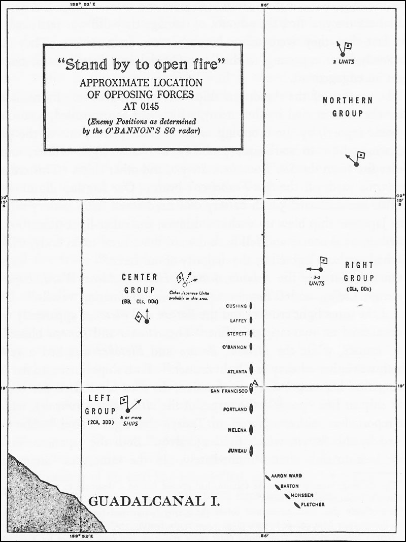 Chart: 'Stand by to open fire.' Approximate location of opposing forces at 0145. (Enemy positions determined by the O'Bannon's SG radar at Guadalcanal.)
