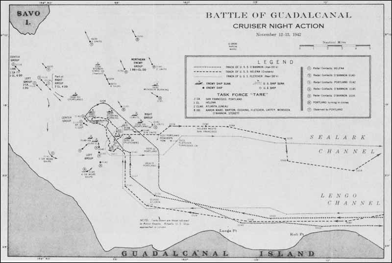 Chart: Battle of Guadalcanal: Cruiser night action, 12-13 November 1942.