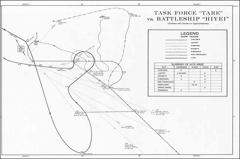 Chart: Task Force 'TARE' vs. Battleship Hiyei. Positions and Courses are approximations.