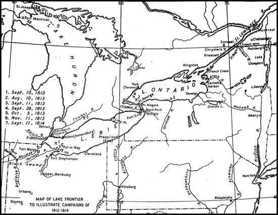 Map of Lake Frontier to Illustrate Campaigns of 1812-1814.