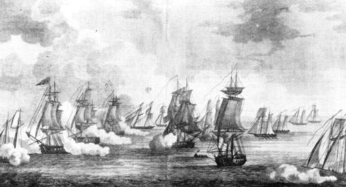 Battle of Erie. Printed by Sam'l Maverick, NY, Engraved by P. Maverick.