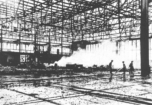Interior of hangar, Midway.