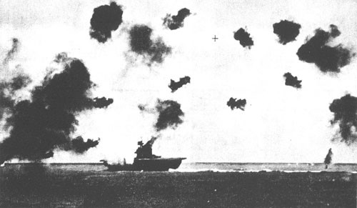 Direct hit on the Yorktown by Japanese dive bombers.