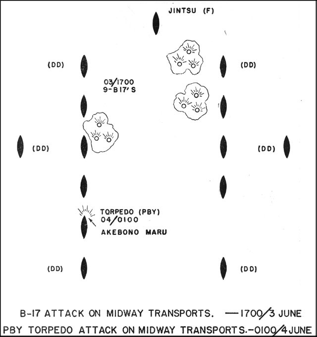 Chart showing B-17 attack on Midway transports - 1700 3 June and PBY torpedo attack on Midway transports - 0100 4 June.