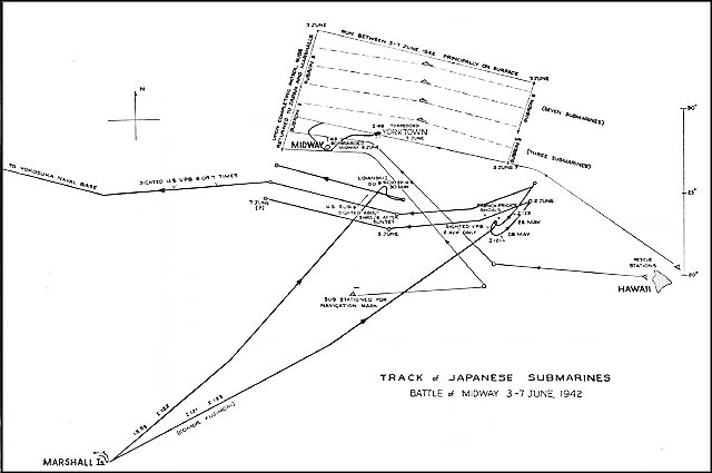 Chart showing track of Japanese submarines, battle of Midway 3-7 June 1942.