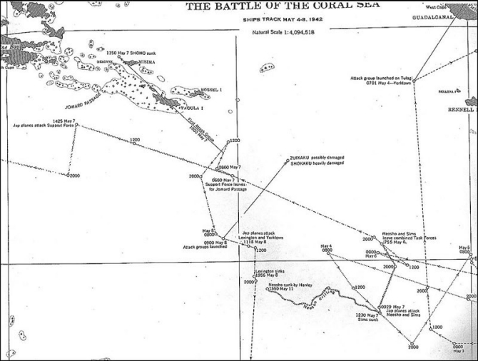 Task Force FOX track 4-8 May, 1942.