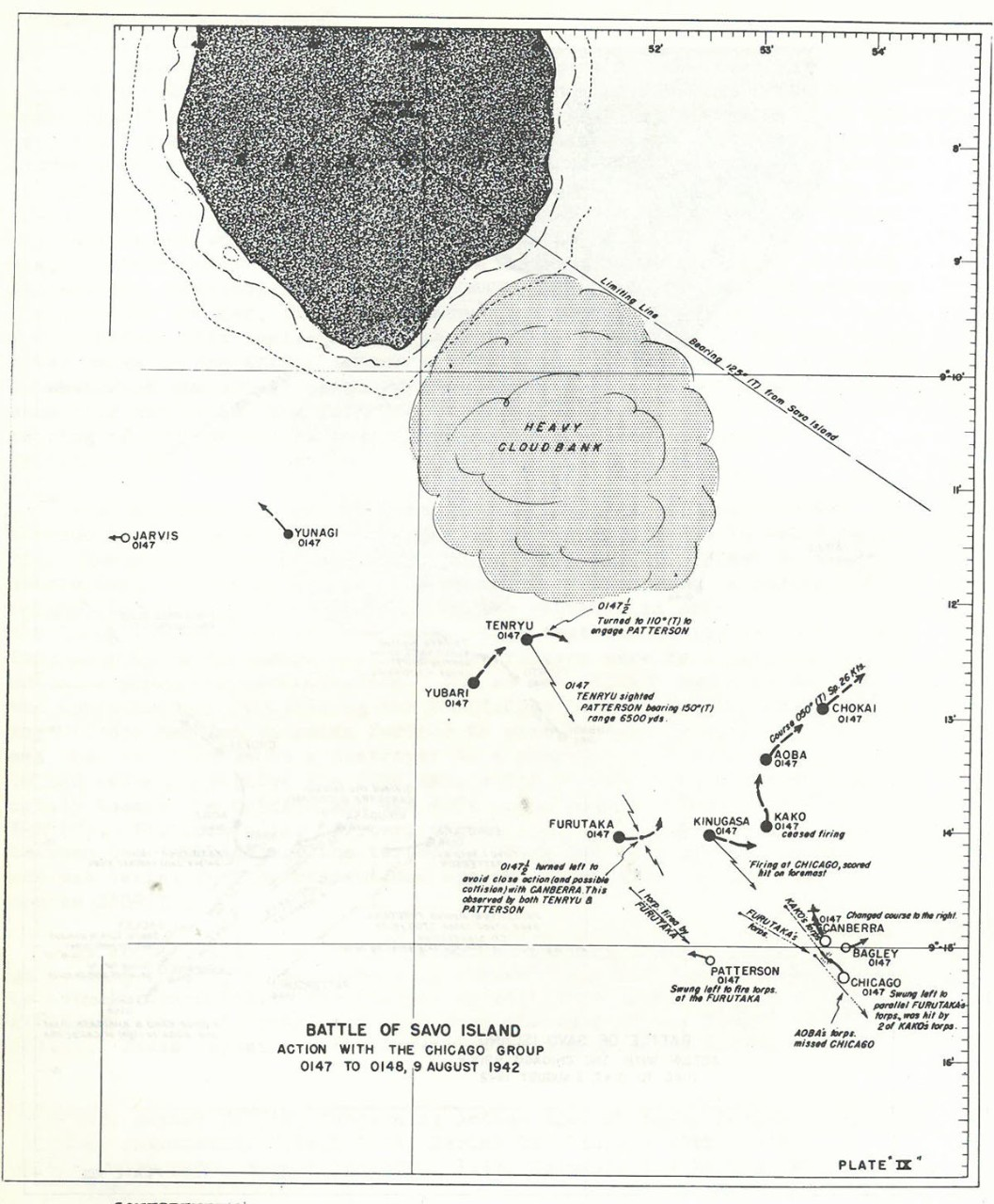 Plate 9: Battle of Savo Island, Action with the CHICAGO Group, 0147 to 0148, 9 August 1942 - chart - The Battle of Savo Island August 9, 1942 Strategical and Tactical Analysis
