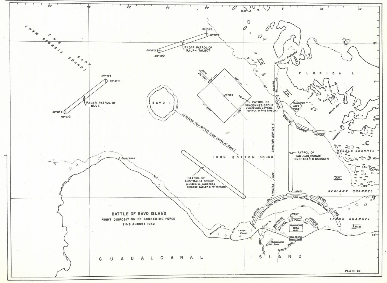 Plate IV: Battle of Savo Island, Night Disposition of Screening Force, 7 & 8 August 1942