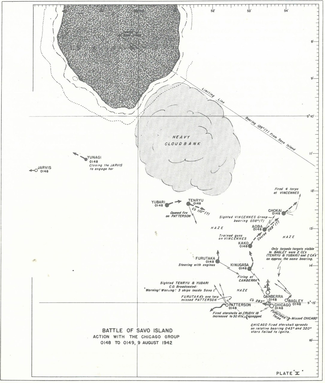 Plate 10: Battle of Savo Island, Action with the CHICAGO Group, 0148 to 0149, 9 August 1942 - chart - The Battle of Savo Island August 9, 1942 Strategical and Tactical Analysis