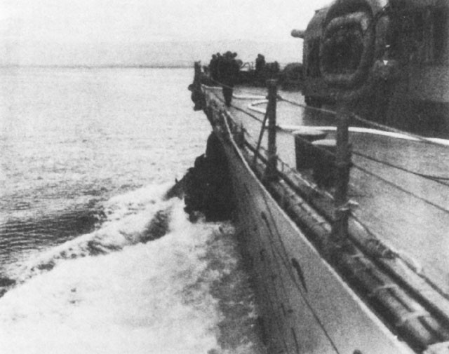 Chicago, showing damaged bow.