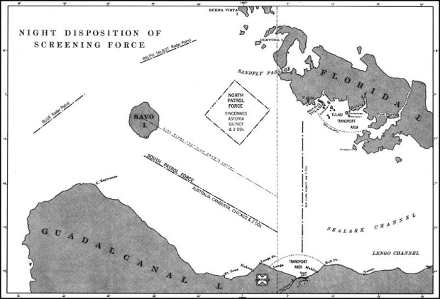"Map showing ""Night Disposition of Screening Force"" around Savo Island between Guadalcanal and Florida Island."