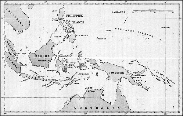 Map: Southwest Pacific, Australia, New Guinea, Borneo