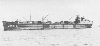 Image of the concrete stores barge Quartz, one of the many of this type construction.