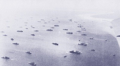 Image of ships in Eniwetok, Marshall Islands.
