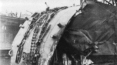 "Image of Honolulu at Tulagi with bow damaged by ""dud"" torpedo."