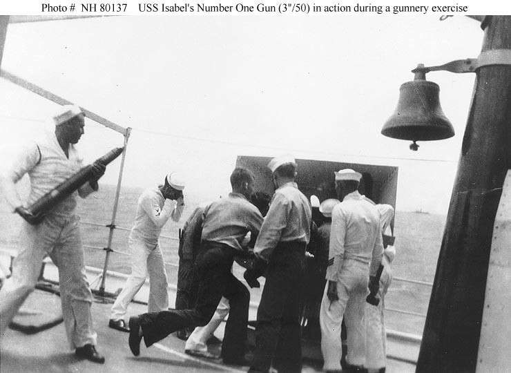 USS Isabel (PY 10) gunnery exercise, circa 1933 - 1934