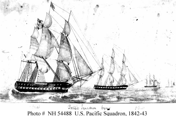 USS United States (1797 - 1861) and Pacific Squadron, circa 1842- 1843