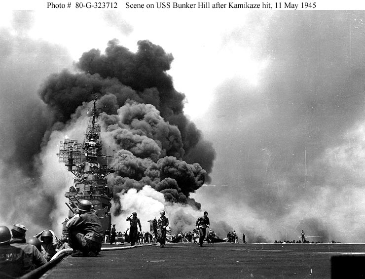 USS Bunker Hill (CV 17) on fire, 1945